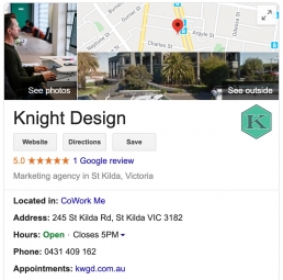 Google My Business listing for Knight Design